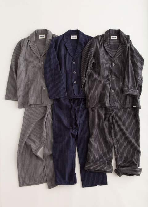 "【16AW】""day""pajama(NAVY Shaggy Stripe)【ユニセックス】【セットアップ】"