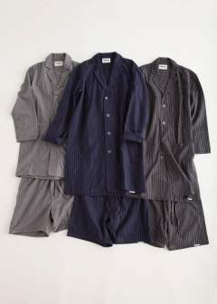 "【16AW】""day long""pajama(NAVY Shaggy Stripe)【セットアップ】【ユニセックス】"