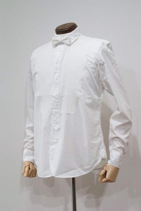 【定番人気】Typewriter Cotton Bosom W/Bow Tie Shirt(WHITE)
