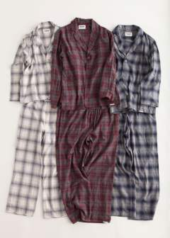 "【16AW】""day""pajama(NAVY Ombre Check)【ユニセックス】【セットアップ】"