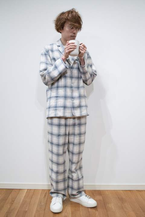"【16AW】""day""pajama(WHITE Ombre Check)【ユニセックス】【セットアップ】"