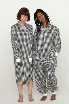"【17SS】""paary""op pajama rib gingham check(BLACK)【ワンピース】"
