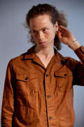 Cotton/Linen Safari Shirt(BROWN)