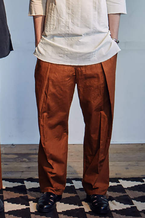 Cotton Linen Double Tuck Pants(BROWN)