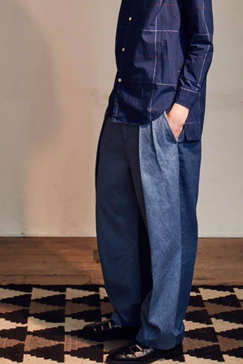 Bi Color Double Tuck Pants(DENIM)