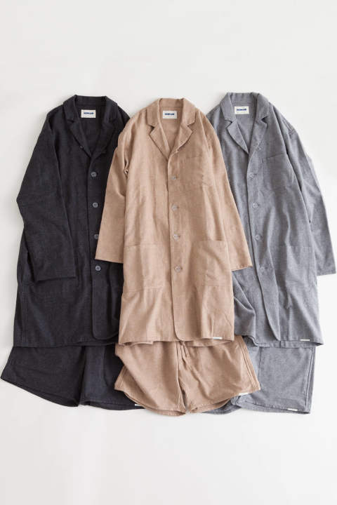 "【17AW】""day long""pajama(TOP糸 viyella CHARCOAL)"