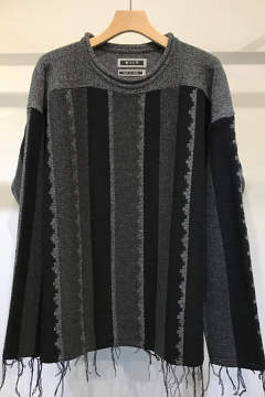 【17AW】Stripe Jacquard Loose Knit(CHARCOAL)