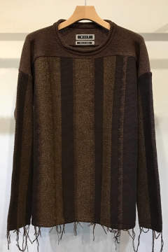 【ラスト1点】【17AW】Stripe Jacquard Loose Knit(BROWN)