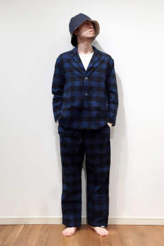 "【17AW】""day""pajama waffle block check/パジャマ(セットアップ)【ユニセックス】( BLUE)"