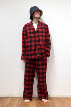 "【17AW】""day""pajama waffle block check/パジャマ(セットアップ)【ユニセックス】( RED)"