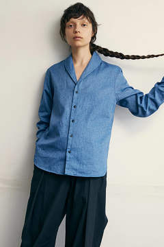 【ラスト1点】【18SS】Narrow Shawl Collar Shirt(BLUE)