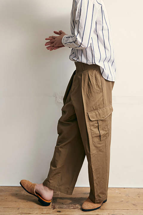 【ラスト1点】【18SS】Cotton/Linen Double Tuck Cargo Pants(BEIGE)