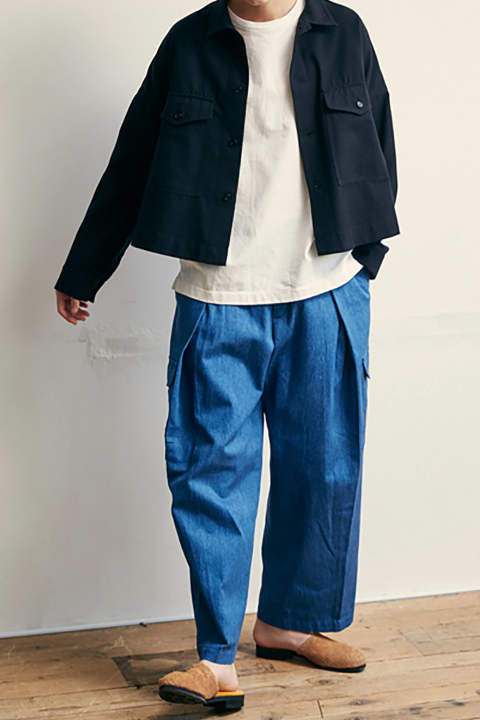 【ラスト1点】【18SS】Denim-ish Double Tuck Cargo Pants(BLUE)