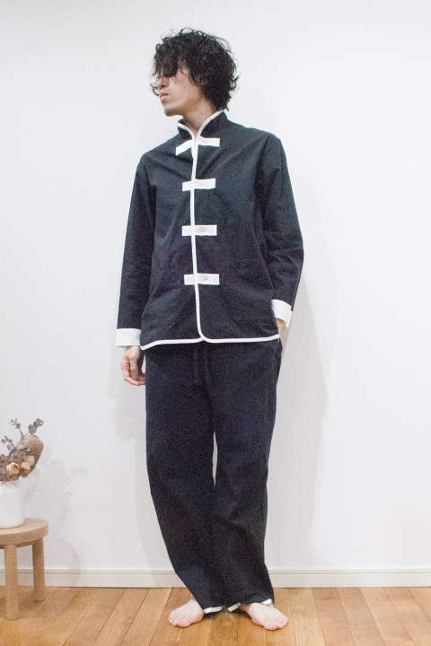 "【18SS】""kung-fu""pajama washed cotton/カンフーパジャマ(セットアップ)【ユニセックス】(BLACK)"