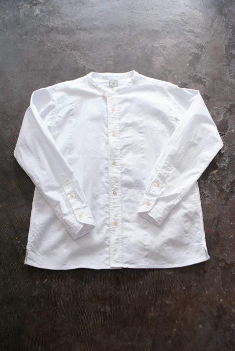 【ラスト1点】【19SS】Garment Dye Band Collar Shirt(WHITE)